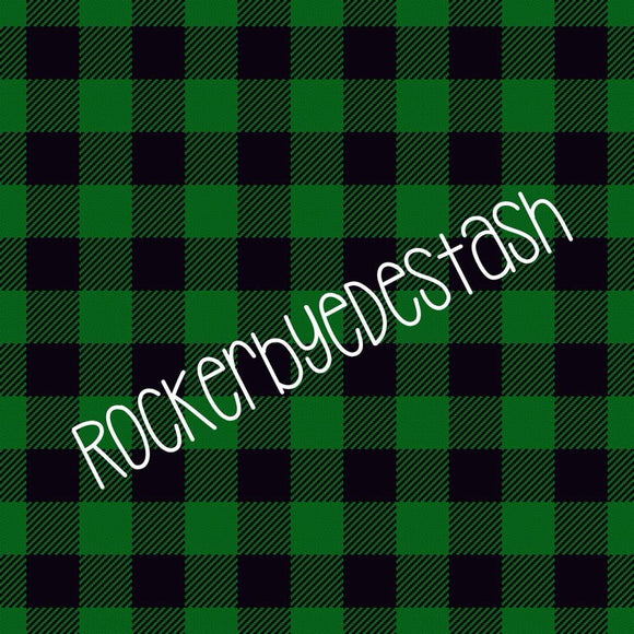 Green Plain Plaid Cotton Lycra