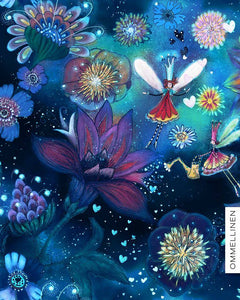 Flower Fairies Blue Cotton Lycra Remnant