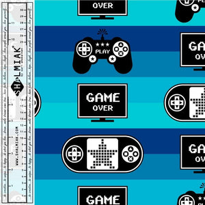 Game Over Blue Cotton Lycra