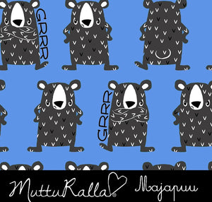 Grumpy Bears Blue Cotton Lycra Remnant