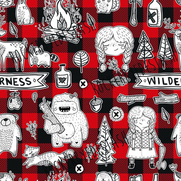 Wilderness Girl Red and Black Plaid Cotton Lycra