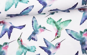 Watercolour Hummingbirds Cotton Lycra