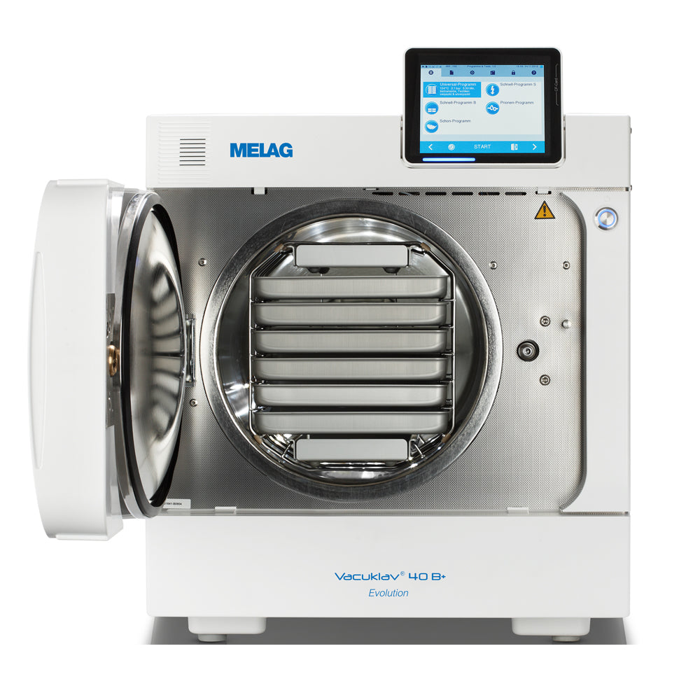 Melag autoclave 40B Evolution front view door open with trays