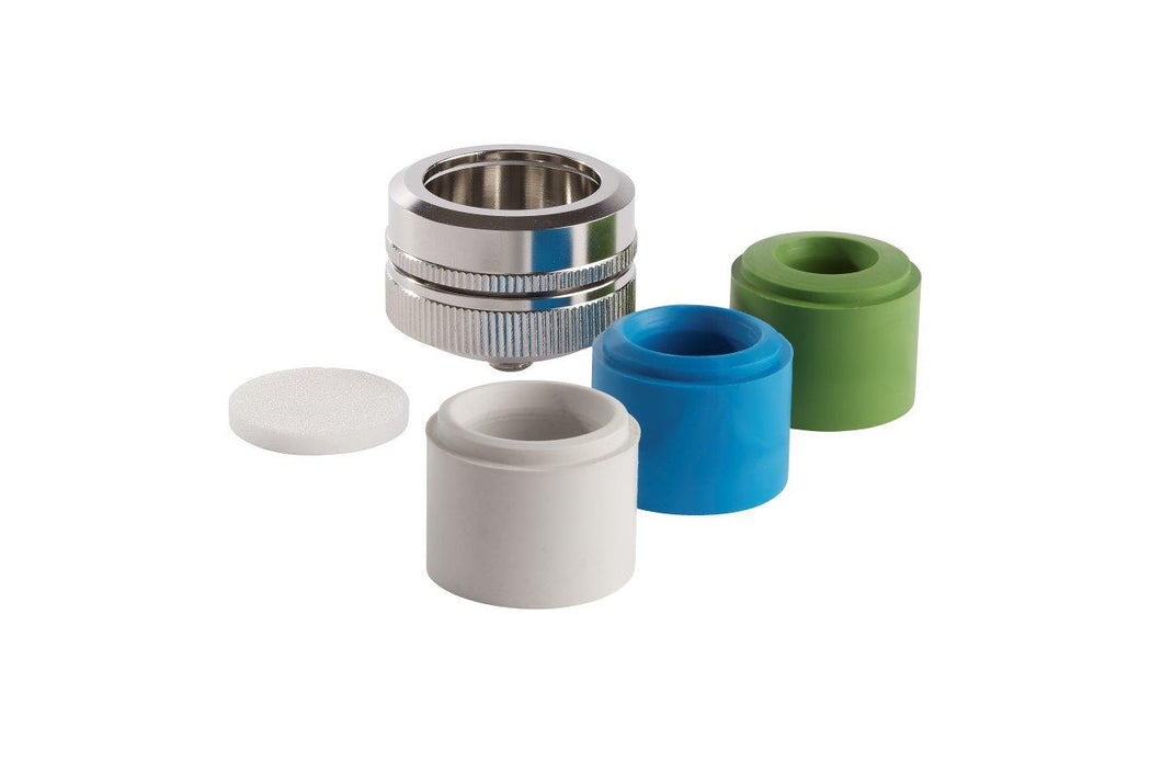 Universal adapter with filter disc and 3 silicone inserts