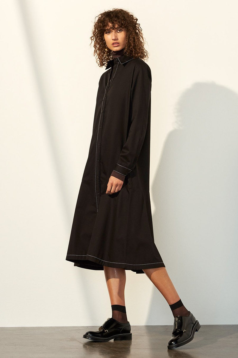 Monologue Shirt Dress, Black
