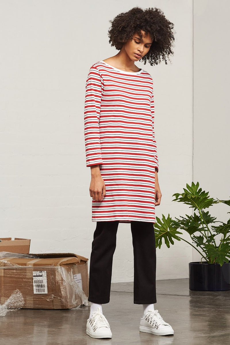 Building Block Boat Neck Dress, Red Stripe