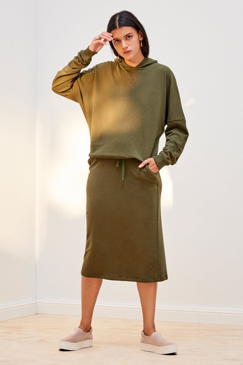 Building Block Hooded Sweater, Army Green