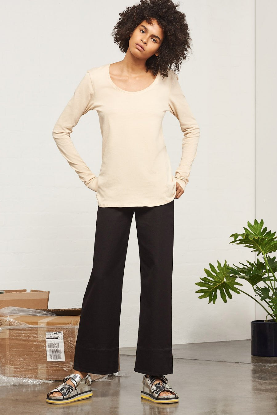 Building Block Long Sleeve Top, Sand