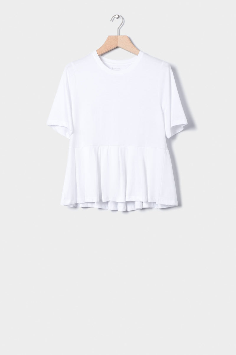 Building Block Pleated Tee, White