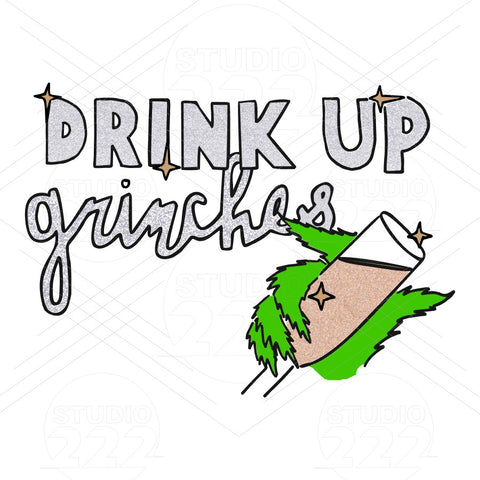 """Drink Up Grinches"" Wine Glass"