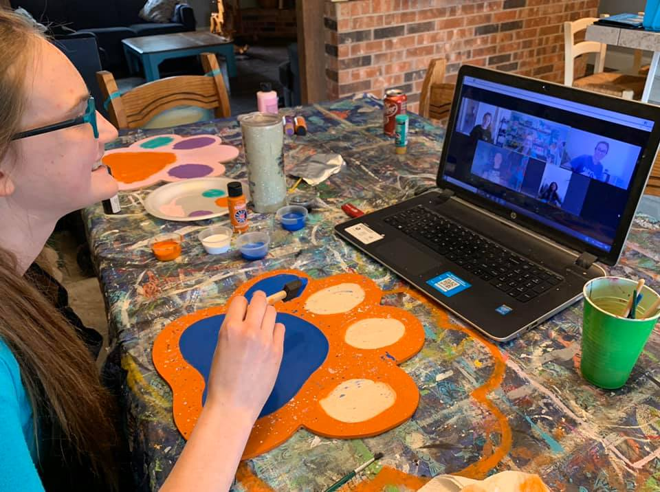 virtual paint party with friends zoom and facebook live events
