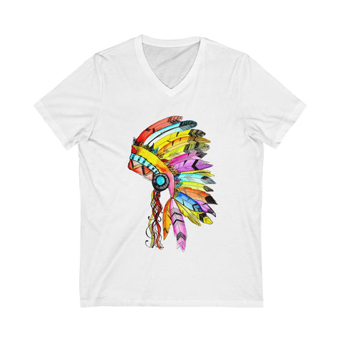 Watercolor Indian Headdress Unisex Jersey Short Sleeve V-Neck Tee