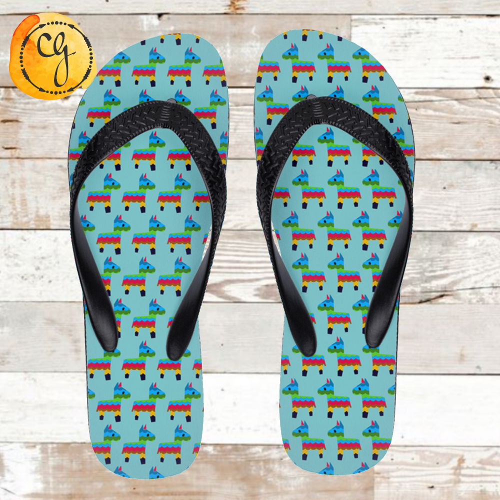 ff3bf3c2d29d6 Pinata Colorful Burro Print Flip Flops – Cracked Ginger