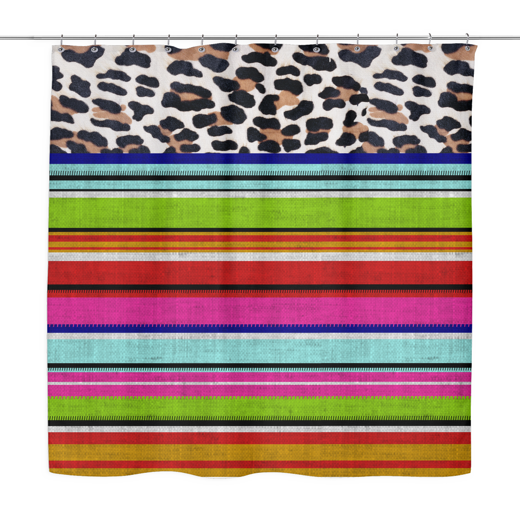 Leopard and Serape Print Shower Curtain