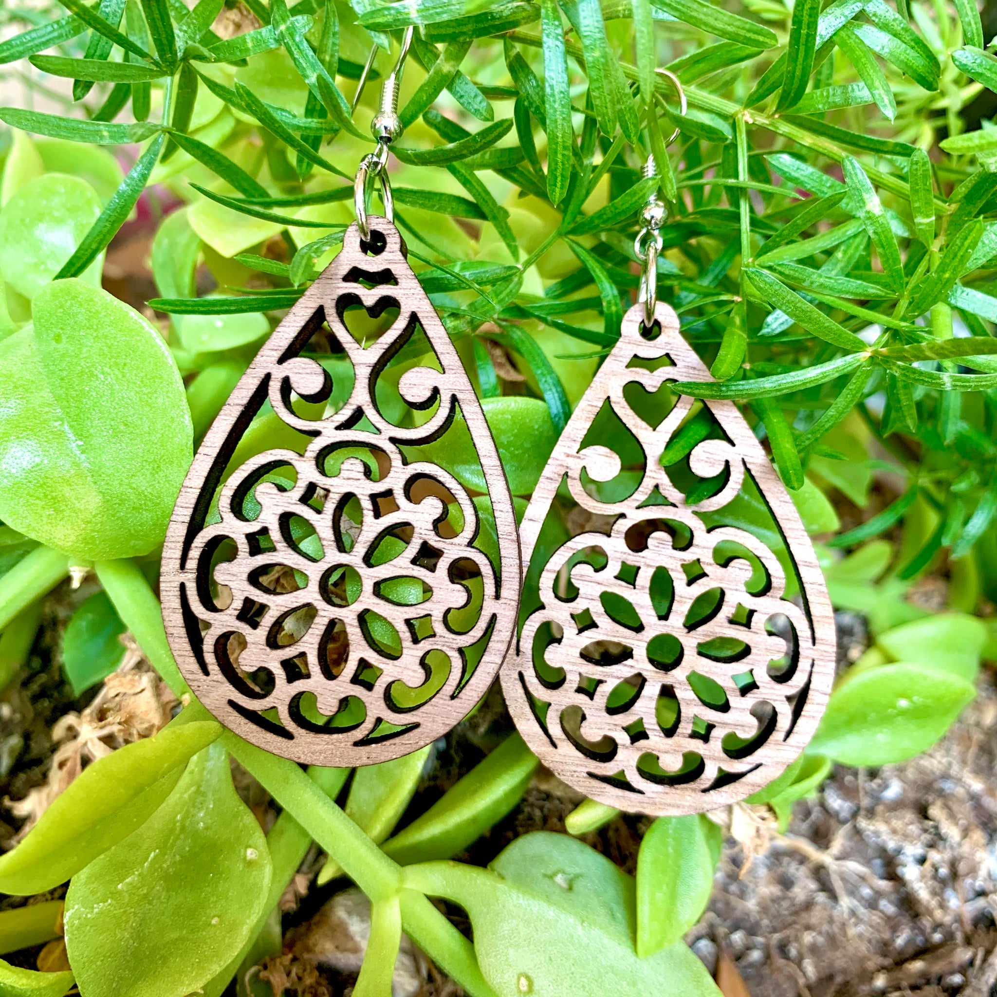 Flower Mandala Walnut Laser Cut Earrings