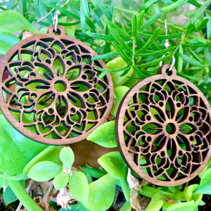 Circle Mandala Walnut Laser Cut Earrings