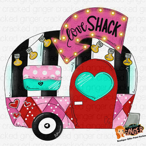 Love Shack Camper Valentines Day Template