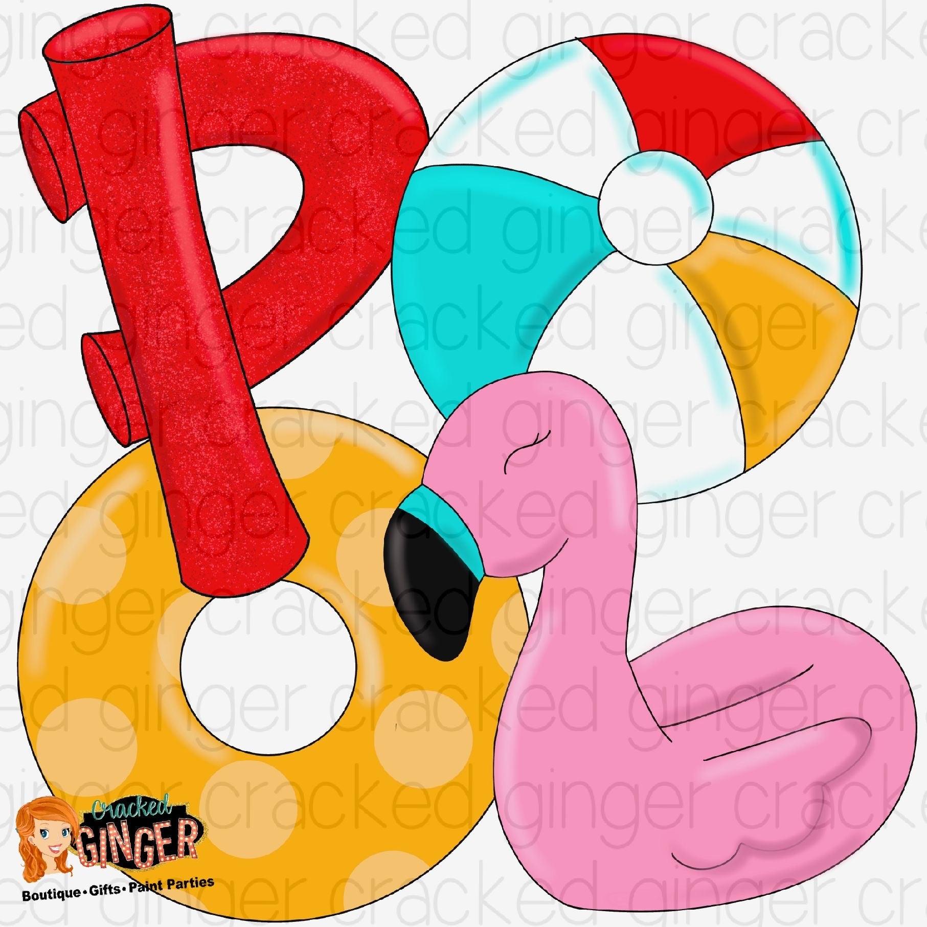 POOL beach ball, noodles, floatIe and flamingo Cutout and Kits
