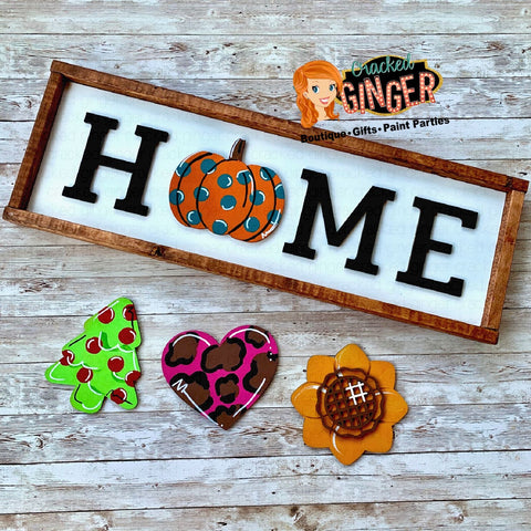 Interchangable Framed HOME sign with 4 shapes