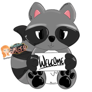 Raccoon Welcome Sign