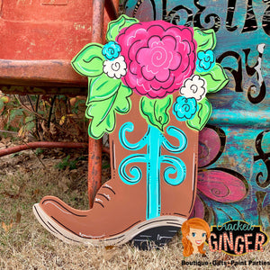 Cowboy Boot With Flowers Wooden Door Hanger or Wall Decor