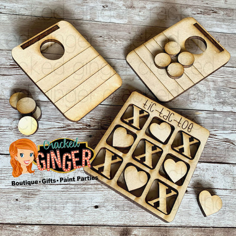 Wooden mini games cornhole or tic-tac-toe Valentine's Day Paint Kit