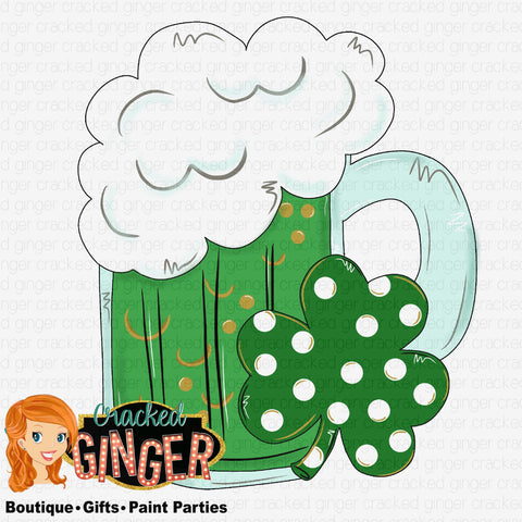 St Patrick's Day Green Beer and Clover Template