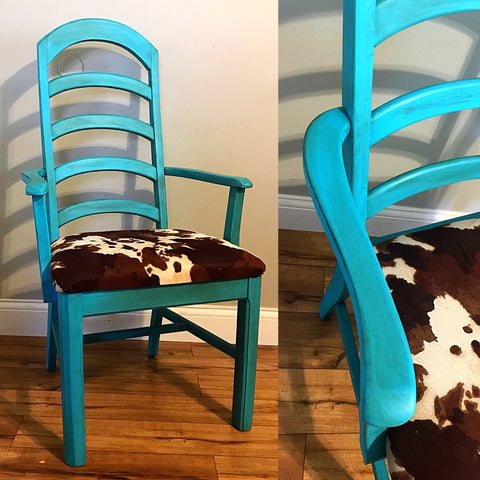 Distressed and Aged Turquoise Cow Print Chair