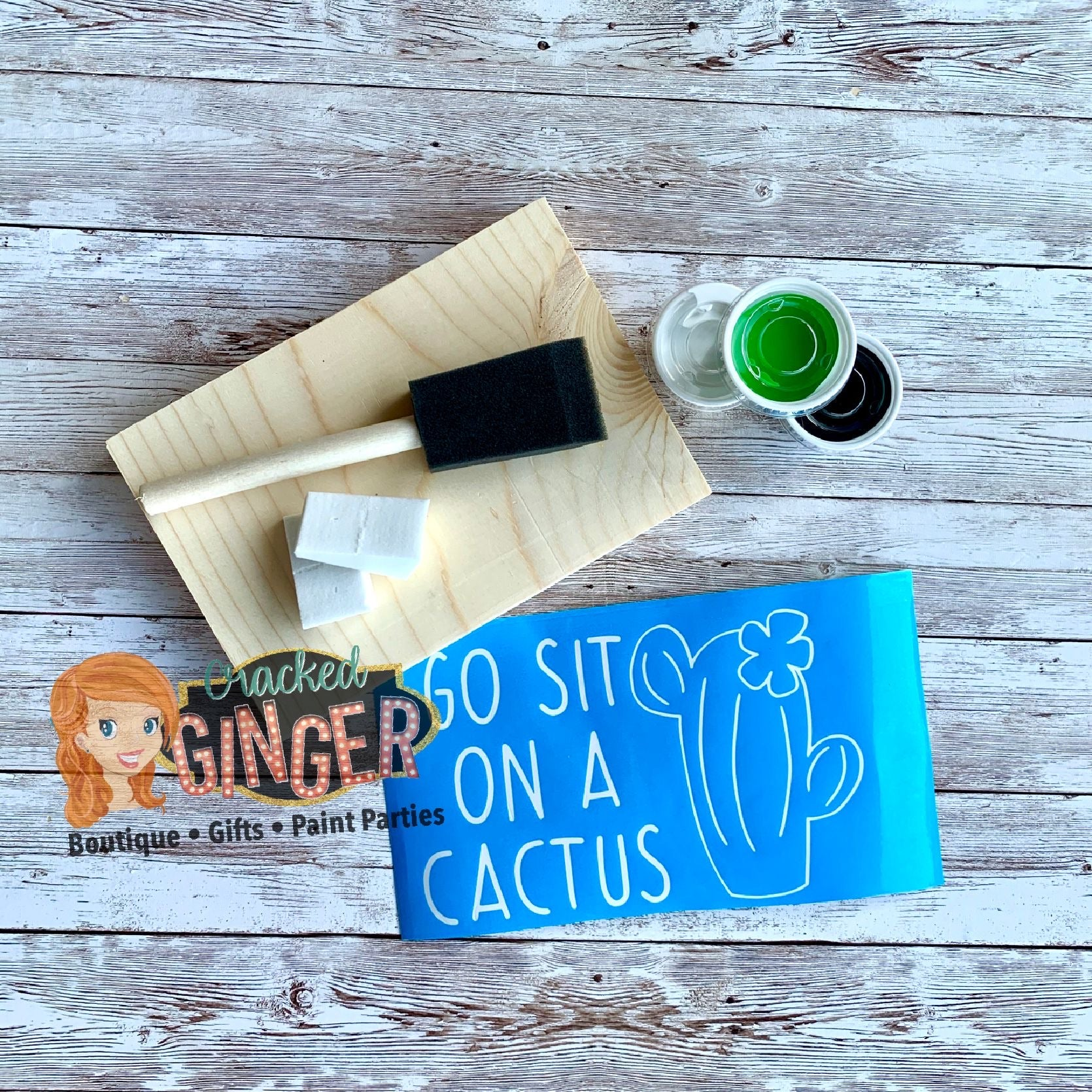 Sit on a cactus stencil sign board paint kit