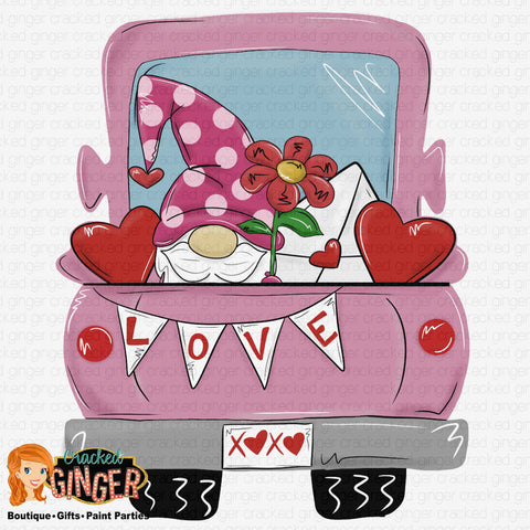 Valentine's Day truck bed with Gnome Template