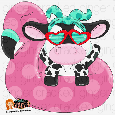 Cow in flamingo tube Cutout and Kits