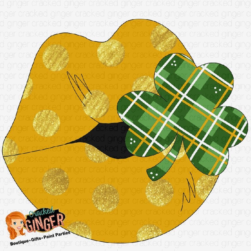 Gold Kiss with Clover St. Patrick's Day Template