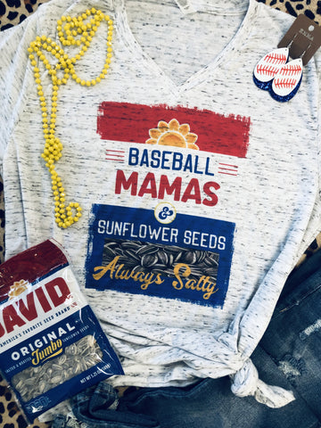 Baseball Mama's Sunflower Seeds White Marble Tee