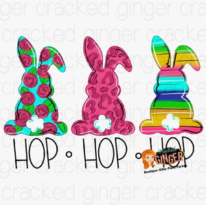 Bunny Trio Hop PNG Sublimation image instant download