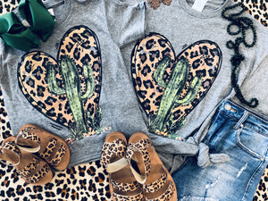 Leopard Heart Cactus Mommy and Me Tees
