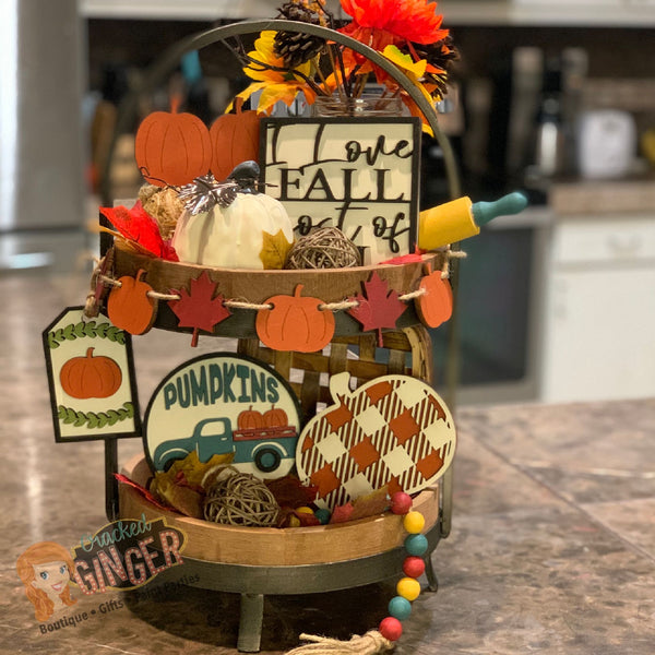 Fall themed tier tray