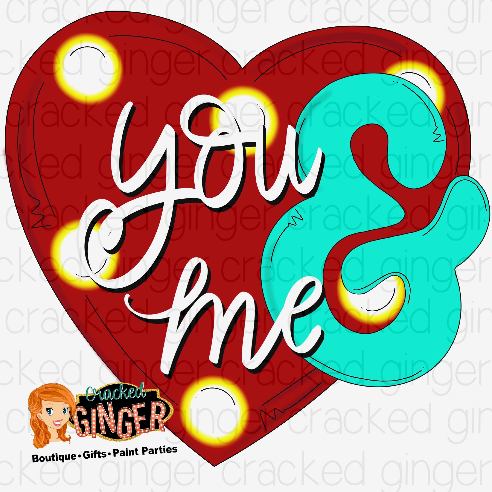 You and me marquee heart Valentine's Day Cutout and Kits