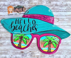 Hello Beaches Floppy Sun Hat Wooden Door Hanger or Wall Decor