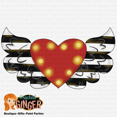 Marquee Flying Heart Template