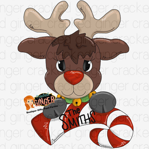 Reindeer with candy cane
