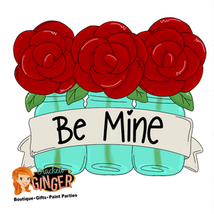 Mason Jars of roses Valentines Day Template