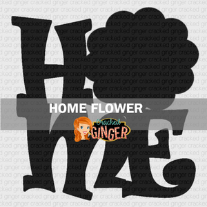 Home with Flower Wood Cut Out Kit