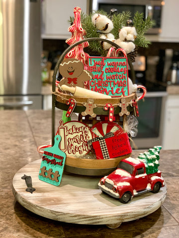 Christmas Gingerbread and Candy Cane Themed Tiered Tray