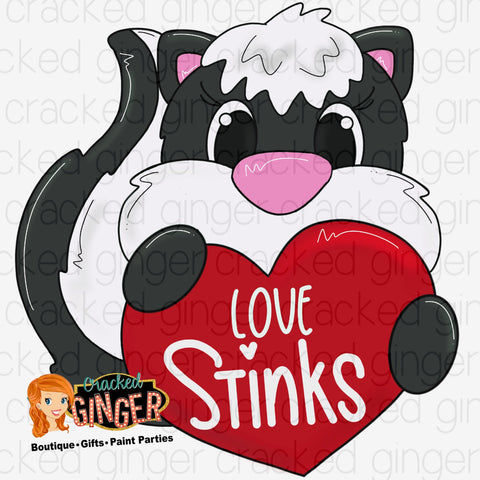 Love Stinks Skunk with Heart Valentines Day Template