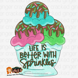 Ice cream sundae better with sprinkles Cutout and Kits