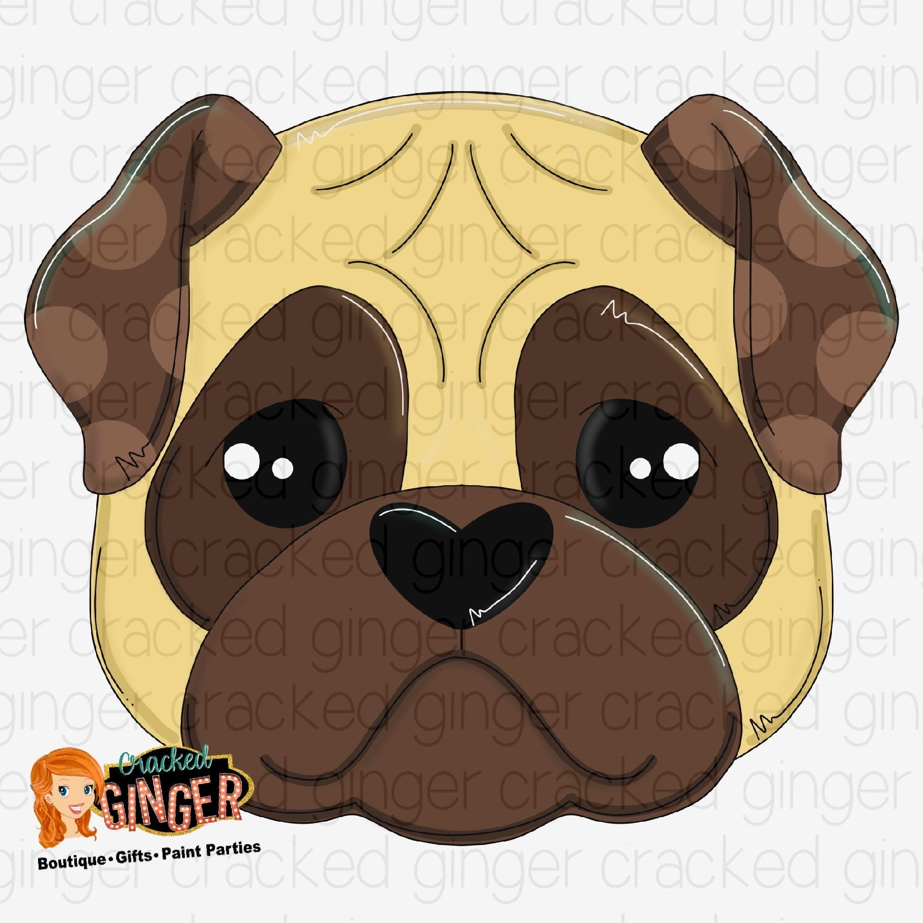 Pug head Cutout and Kits