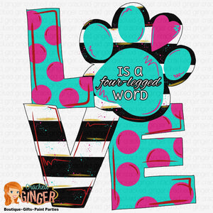 Love Paw Print Template
