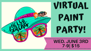 Hello Beaches floppy hat and sunglasses Virtual Paint Party 6/3