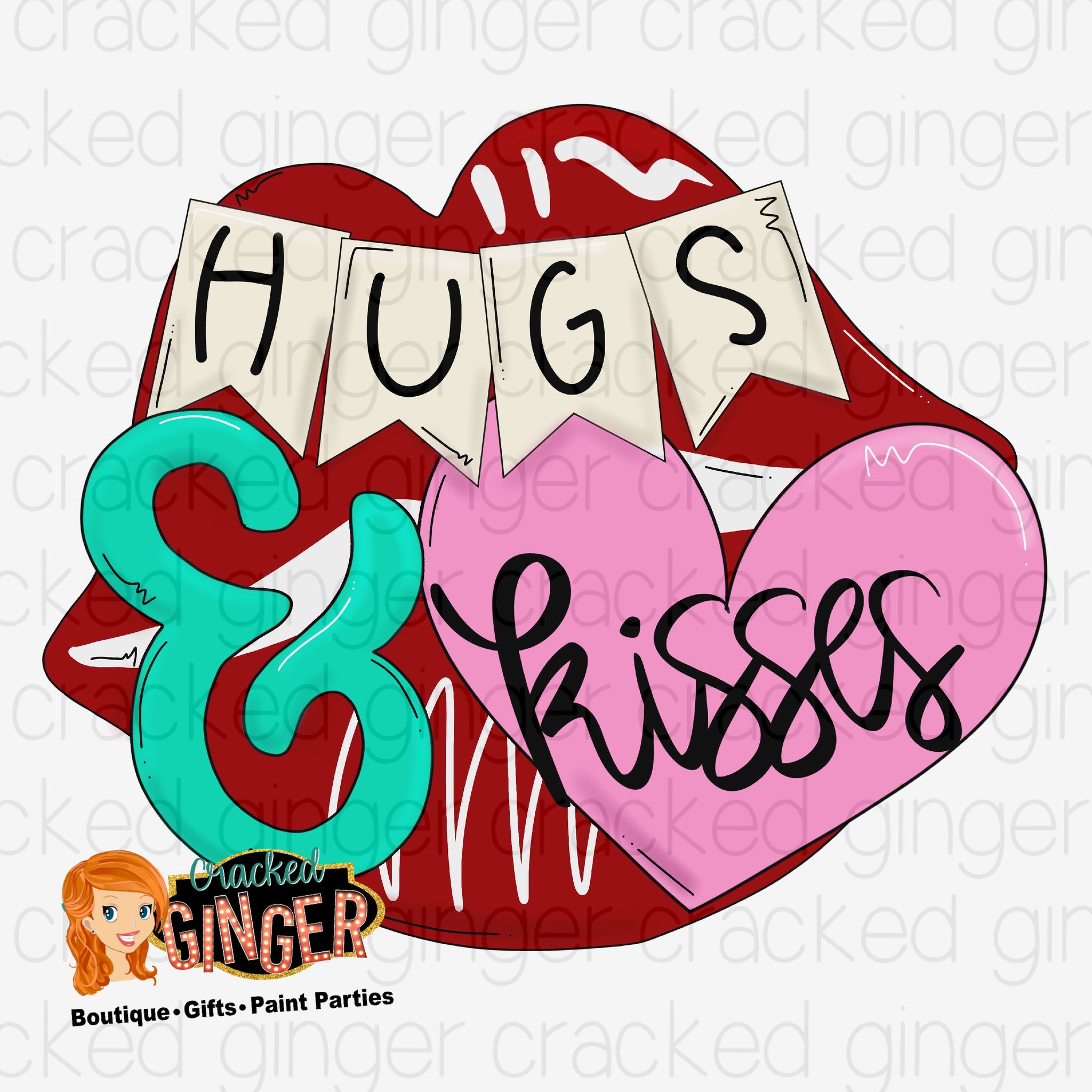 Hugs and kisses lips Valentines Day Template