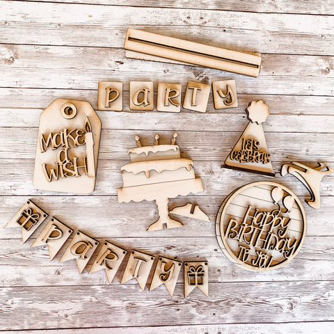 Happy Birthday themed tiered tray Paint Kit